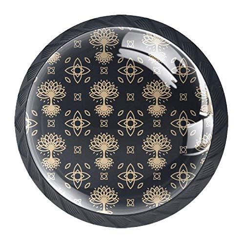 Celtic Tree Kitchen Cabinet Door Knobs Glass for Drawer, Dresser, Cabinet 4 PCS