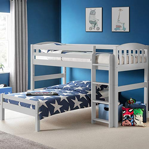 7 Beds in 1, Happy Beds Max Combination Dove Grey Bed - Bunk Bed, Mid-sleeper, Daybed, Midsleeper and Single Bed, Toddler Bed - 3ft Single (90 x 190cm) Frame