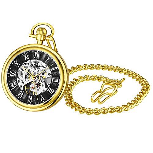 Relógio masculino vintage com bolso mecânico Stuhrling Original – Relógio com bolso de aço inoxidável com corrente analógica e relógio mecânico com cordão e corrente de aço inoxidável, Black Gold