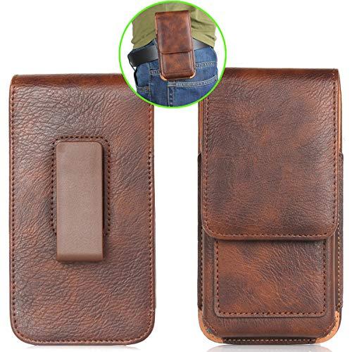 MISKQ Universal Handyhülle,Outdoor-Reisetasche,Gürtel Stil Herrentaschen,360 Grad Drehung,für: WIKO Y80/BlackBerry KEY2/alcatel 3L/DOOGEE X55/Blackview S6 & andere 6.3-Zoll-Handys(Brown)