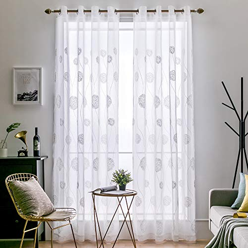 MIULEE Vorhang Voile Blumen Stickerei Vorhänge mit Ösen transparent Gardine 2 Stücke Ösenvorhang Gaze paarig schals Fensterschal für Wohnzimmer Schlafzimmer 245 cm x 140 cm(H x B) 2er-Set