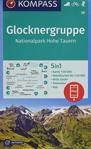 KOMPASS Wanderkarte Glocknergruppe, Nationalpark Hohe Tauern: 5in1 Wanderkarte 1:50000 mit Panorama, Aktiv Guide und Detailkarten inklusive Karte zur ... Skitouren. (KOMPASS-Wanderkarten, Band 39)