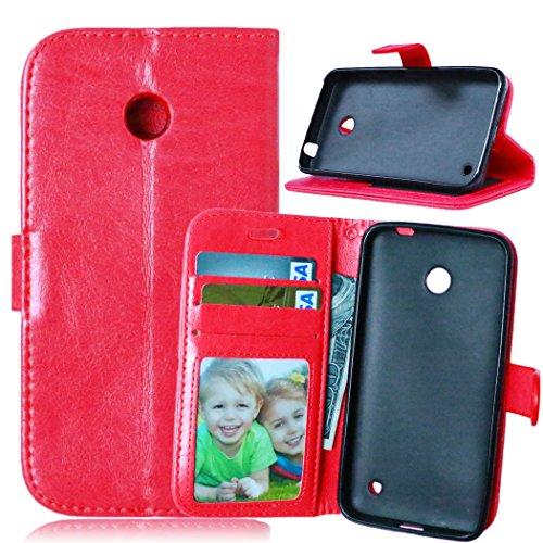 FQY-TEC Nokia Lumia 630 Hülle, [Red][PU-Leder]und[TPU] Brieftasche,Kartensteckplatz,Ständer,Bilderrahmen Hülle für Nokia Lumia 630(4.5
