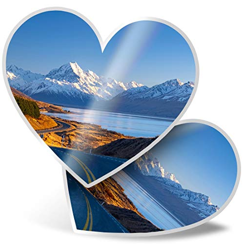 Awesome 2 x Heart Stickers 15 cm - Mount Cook National Park New Zealand Fun Decals for Laptops,Tablets,Luggage,Scrap Booking,Fridges,Cool Gift #16950