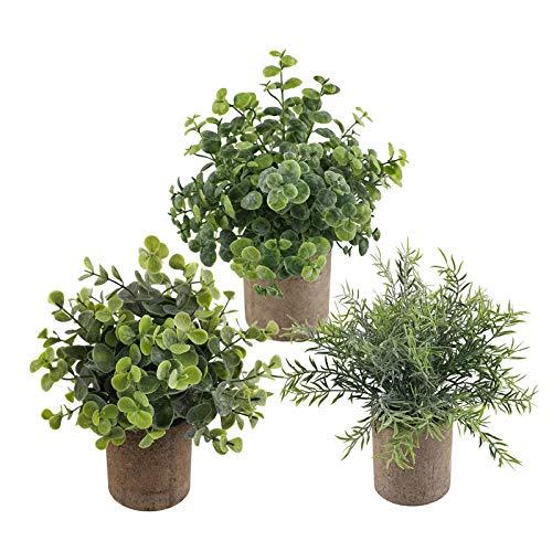 3 plantas artificiales mini en maceta, plantas artificiales