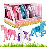 Liberty Imports Unicorn Stable Take-Along Kids Toy Playset with Styling Brush and Accessories (Set of 3) (Unicorn)