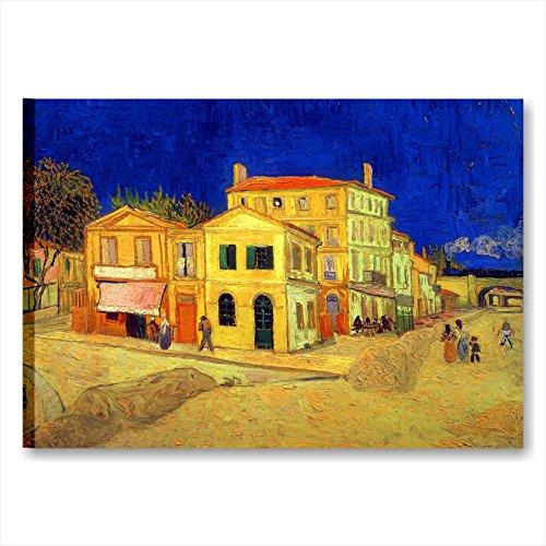 Quadri L&C ITALIA Van Gogh La Casa Gialla - Quadro Moderno Stampa su Tela da Parete 70 x 50 Soggiorno Salotto Ufficio Riproduzione Autori Famosi