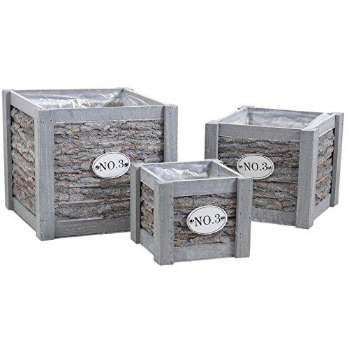 Cache-pot carrés en bois et écorce - Lot de 3