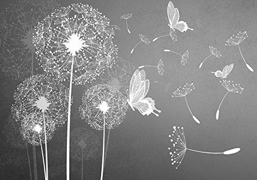Forwall vliesfotobehang fotobehang behang wandschilderij vlies | Welt-der dromen | Paardebloemen | fotobehang Mural 10227_VEN-AW | paardenbloemen natuur abstractie kunst wit Natuur V8 (368cm. x 254cm.) grijs, wit, zwart