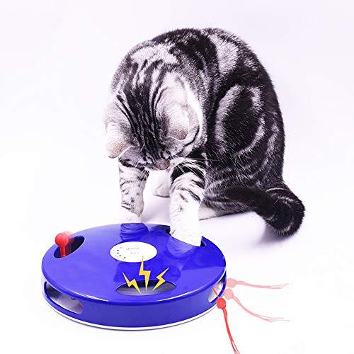 Parain Elektrisch Katzenspielzeug | 5 einstellbare Spiel-Modi | 360 Grad Rotation | Imitiert Geräusche von Mäusen/Ratten | Spielzeug für Katze Beschaftigung (Blau)