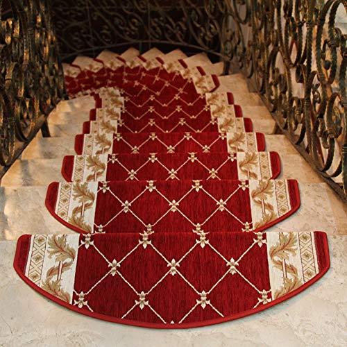 Matten für Rutschsichere Treppenaufgänge,Stufenmatten Treppen-Teppich,Selbstklebend und Pflegeleicht,Mute,15 Stück,Rot,24 * 75cm