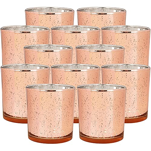 Just Artifacts 4-Inch Speckled Mercury Glass Votive Candle Holder (12pc, Rose Gold)
