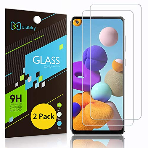 Didisky Pellicola Protettiva in Vetro Temperato per Samsung Galaxy A21s, [2 Pezzi] Protezione Schermo [Tocco Morbido ] Facile da Pulire, Facile da installare, Trasparente
