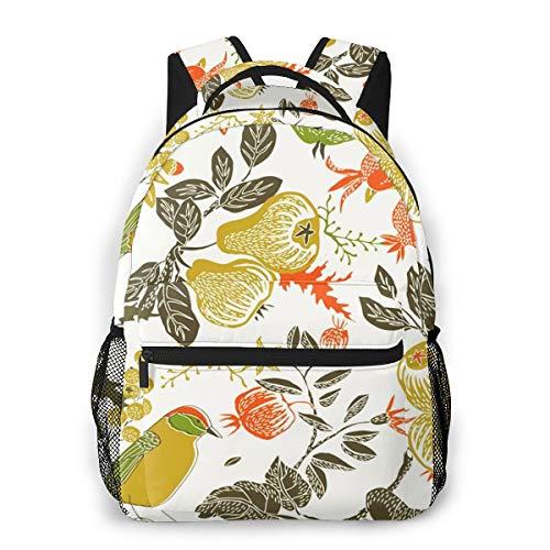 Laptop Rucksack Schulrucksack Obstgarten Vogelfall, 14 Zoll Reise Daypack Wasserdicht für Arbeit Business Schule Männer Frauen
