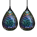 3D Glass Pendant Light, Modern Kitchen Pendant Lighting with Colored Hammered Shade, 3D Reflection Glass Hanging Pendant Ceiling Light Fixture for Living Room Bedroom Island Bar, 8in Chrome,2 Pack