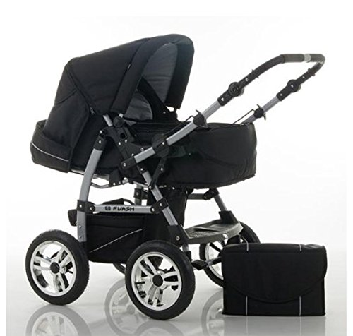 "14 teiliges Qualitäts-Kinderwagenset 2 in 1 ""FLASH"" in 38 Farben: Kinderwagen + Buggy - 14 teiliges Megaset in 38 tollen Farben"