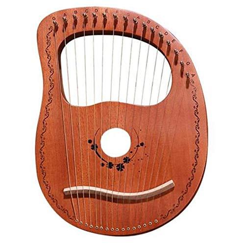 Huante Lyre Harfe mit 16 Saiten, tragbar, kleine Harfe mit robustem Saiten-Musikinstrument, stabiler Klang, Holzfarbe