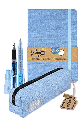 2nd LIFE Schreibset von Online | inklusive Notizbuch DIN A5, Etui, Kugelschreiber & Füller | aus recyceltem PET für eine saubere Umwelt | nachhaltige Stifte, Bullet Journal und Schlampermäppchen