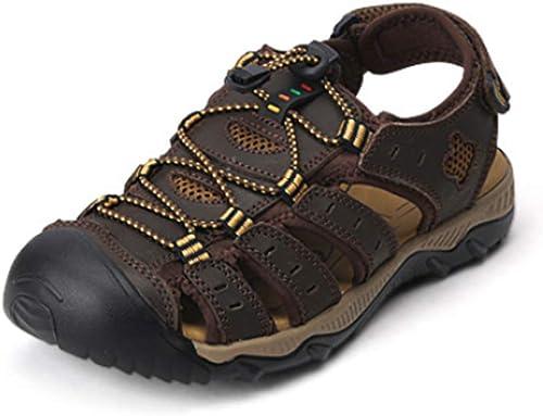 Sandales été Nouveaux Hommes Chaussures de Plein air Chaussures de Sport en Cuir Baotou Pieds Sandales et Pantoufles première Couche en cuir-Darkmarron-43