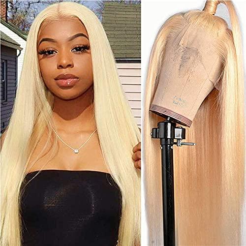 "BLISSHAIR 13 X 4 X 4 Lace Frontal Wig Perruque Bresilienne Human Hair Cheveux Humain Naturel Platinum Blonde Hair Grade 8A Cheveux Bresilien Remy Couleur 613 (14"")"