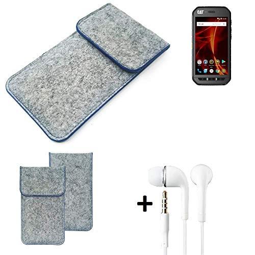 K-S-Trade Filz Schutz Hülle Für Caterpillar Cat S41 Dual-SIM Schutzhülle Filztasche Pouch Tasche Handyhülle Filzhülle Hellgrau, Blauer Rand + Kopfhörer