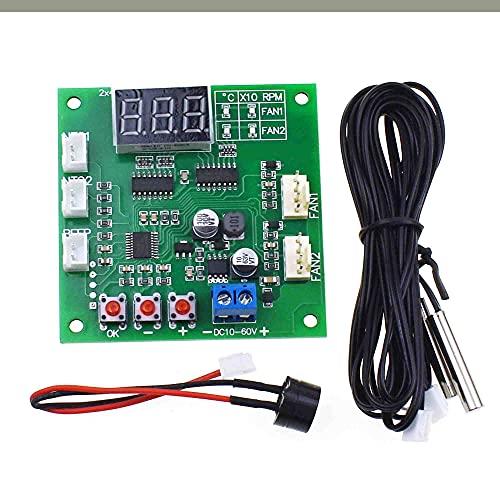 Reland Sun DC 12V 24V 48V 2 canales PWM 4-Wire controlador de temperatura velocidad módulo de visualización para ventilador de PC/alarma
