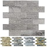 Art3d Peel and Stick Backsplashes Wall Tile Gray Wood Grain, 10pcs of 13.5x11.4inches, for Kitchen Backsplash, Bathroom Decoration, Fireplace and Stair Riser Decal, Made of PVC Composite Laminate