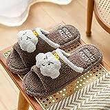 Kirin-1 Zapatillas Fluff Antideslizantes,Zapatillas de algodón, Muebles para el hogar, Mujer, Invierno, Felpa, Invierno, Fondo Grueso, Antideslizante, mudo-39-40_Café un