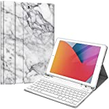 Fintie Tastatur Hülle für iPad 10.2 Zoll (8. & 7. Generation - 2020/2019), Soft TPU Rückseite Gehäuse Schutzhülle mit Pencil Halter, magnetisch Abnehmbarer Tastatur mit QWERTZ Layout, Marmor Weiß