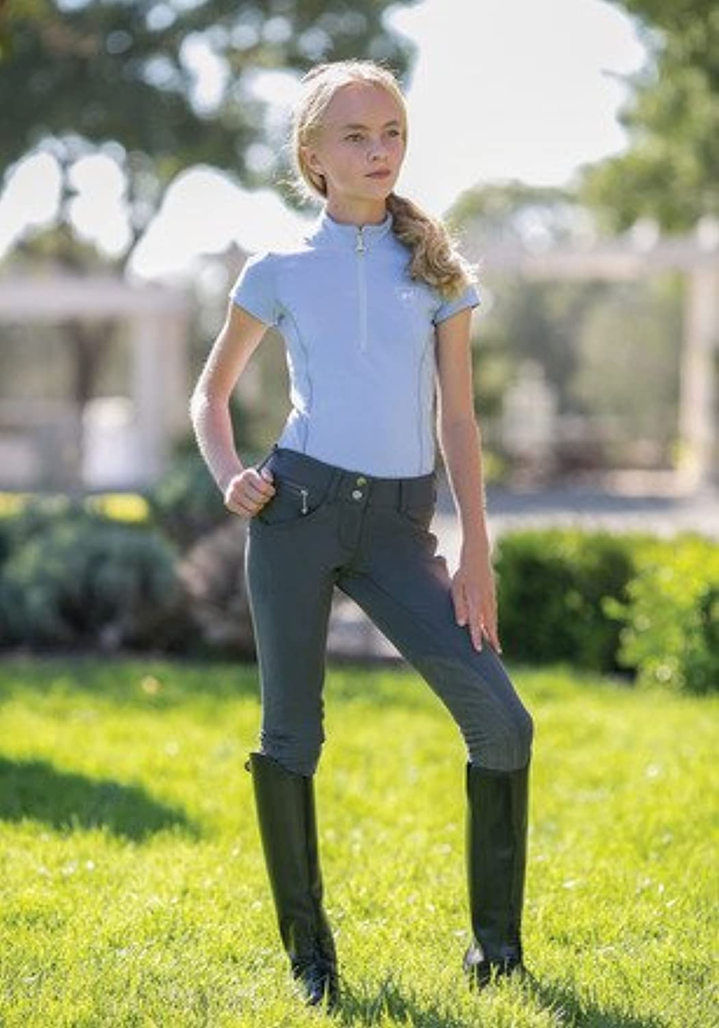 (8, Charcoal)  Goode Rider Girl's Pro Rider Breeches Knee Patch