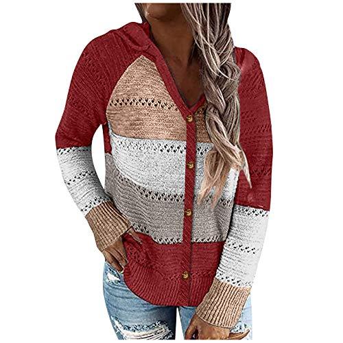 Camiseta de manga larga para mujer, elegante, con capucha, holgada, de gran tamaño, informal, cuello redondo, básica, sudadera, camiseta, túnica, Vino, M