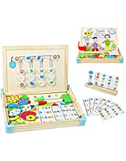Juguetes Montessori de Madera 2 En 1 para Niños 3+ Años con Pizarras Magneticas Infantiles,Tarjeta Modelo y Reloj de Arena Regalos Juegos Educativos Juguetes para Niños 3 4 5 6 Años