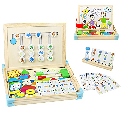 Giochi Legno Bambini 2 in 1 Giochi Montessori Giochi con Lavagna Magnetica Lettere Legno Giocattoli per Bambini Educativi Regalo Bimba 3 4 5 6 Anni