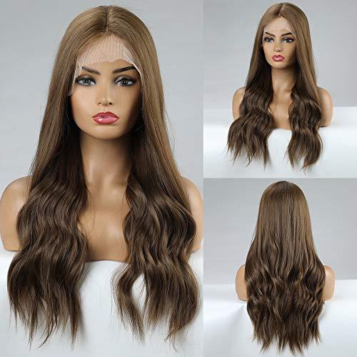 HAIRCUBE Brown Lace Front Perücke mit L Deep Parting Natural Hairline Lange gewellte synthetische Ombre Perücken für Frauen 130% Dichte Curly Perücken Hitzebeständig 24 Zoll