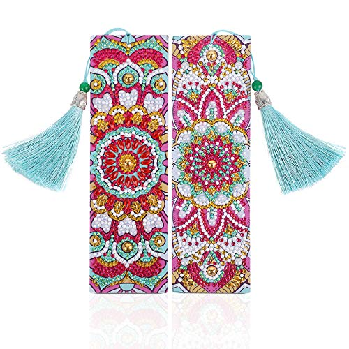MWOOT 2 Stücke 5D Diamant Malerei Lesezeichen Kits,Mandala Diamond Painting Bookmark,DIY Perlen Leder Quaste Lesezeichen Handwerk für Kinder Erwachsene Anfänger Geschenk