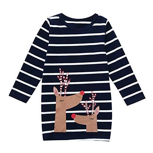 Vestido Fawn a Rayas navideñas de Invierno de Manga Larga para niñas de 1 a 6 años