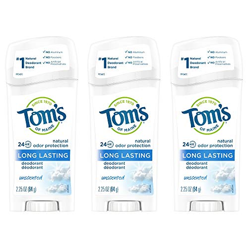 Tom's of Maine Long-Lasting Natural Deodorant, Aluminum Free Deodorant, Deodorant for Women, Unscented, 2.25 Ounce, 3-Pack