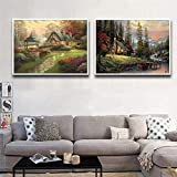 Graffiti art prints Beautiful Scenery Painting Wall Art Canvas Painting Set Cuadros de pared para sala de estar Imagen decorativa para el hogar 2 piezas 40x60cm sin marco