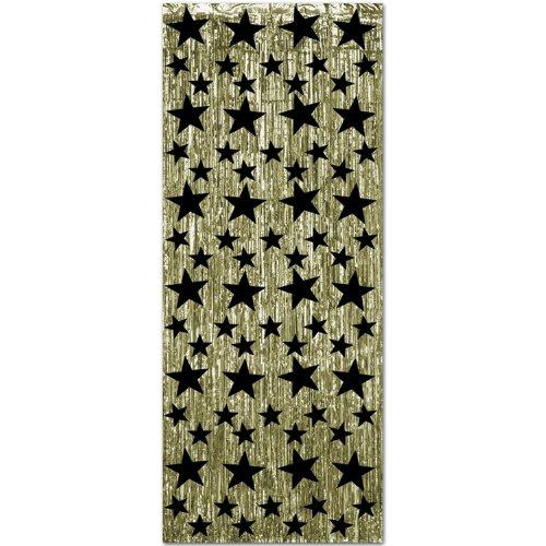 PARTYRAMA.CO.UK Deluxe Gleam N gordijn - goud met zwarte sterren 8 voeten glanzend gordijn