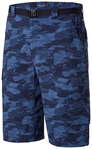 Columbia Homme Short de Randonnée Cargo, SILVER RIDGE PRINTED CARGO SHORT, Nylon, Bleu Marine (Collegiate Navy Camo), Taille: 30, AM4723