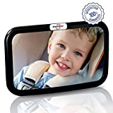 Baby Rear View Mirror - for Rear Facing Car Seat - Large Wide Angle Clear Backseat View - Newborns Babies Toddlers - Fits Cars Trucks SUVs - Adjustable Nylon Straps - Shatterproof Safety Glass