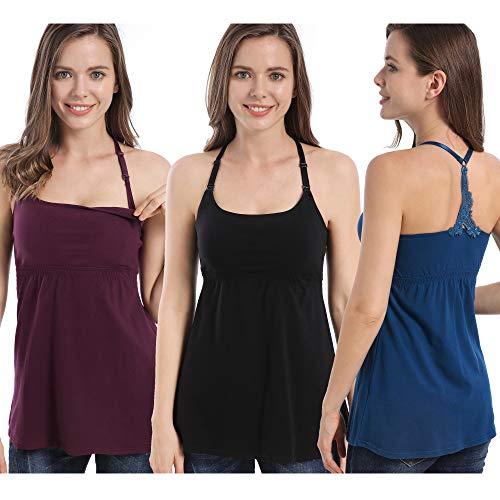 SUIEK 3PACK Nursing Tanks Maternity Tops Cami Bra Shirt for Pregnant Postpartum (Large, Black/Atrovirens/Burgundy 3 Pack)