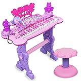 Xyanzi Kleinkindspielzeug Kindertastatur, Kinderpianos & Keyboards Bunte Lichter Und Hocker Mit Echtem Arbeitsmikrofon für Kinder