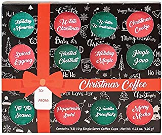 KCup Coffee Gift Box Set - Gourmet Christmas or Fall Flavored Coffee Assortment Sampler, Best Xmas or Thanksgiving Single Serve Coffee for Family Friends Corporate Client (Christmas Collection)