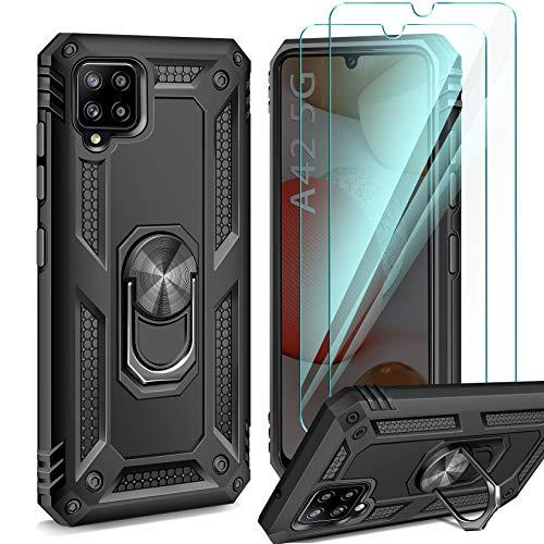 ivencase Samsung Galaxy A42 5G Hülle, 2 Stück Panzerglas, Silikon Soft TPU Bumper Hard PC Schutzhülle Handyhülle mit 360 Grad Drehbar Ringhalter Cover für Samsung Galaxy A42 5G - Schwarz