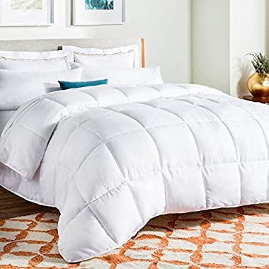 Linenspa All-Season White Down Alternative Quilted Comforter - Corner Duvet Tabs - Hypoallergenic - Plush Microfiber Fill - Machine Washable - Duvet Insert or Stand-Alone Comforter - California King