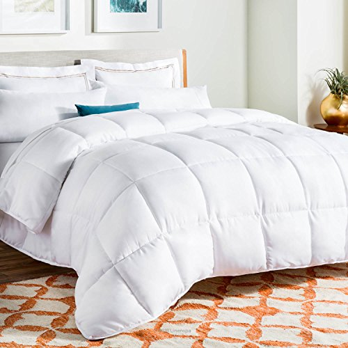 LINENSPA All-Season White Down Alternative Quilted Comforter - Corner Duvet Tabs - Hypoallergenic - Plush Microfiber Fill - Machine Washable - Duvet Insert or Stand-Alone Comforter - Twin