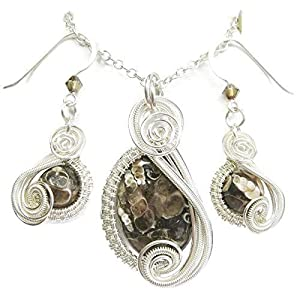 Turritella Agate Fossil & Swarovski Crystal Wire-Wrapped Earring Necklace Set