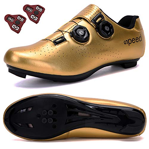 DisPlay Men's Road Bike Riding Shoes Women Indoor Cycling Exercise Shoes Collocation Look Cleats Compatible Cleats SPD/SPD-SL MTB Look Men for Lock Pedal Bike Shoes Golden