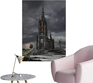 Wall Decoration Wall Stickers Mystery Gothic Castle Edinburgh Darkness Dramatic Sky Clouds Bat and Old Buildi Print Artwork,32